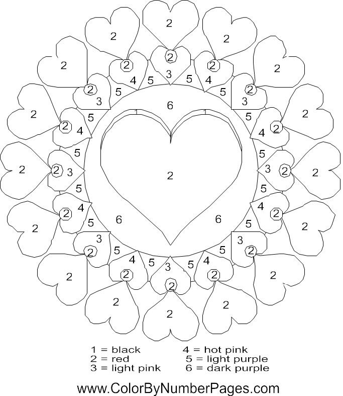 Valentines day color by number az coloring pages