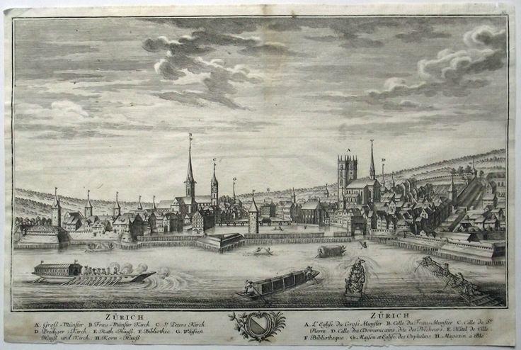 1764 David Herrliberger - Zürich (ohne Spitztürme am Grossmünster) - Kupferstich