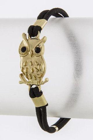 Petit bracelet hibou, 16$ En vente dès le 26 mai sur : http://www.shop-vlb.com/collections/cynthia-du/products/hibou-bracelet  #VLBcollection #bracelet #bijou #owl #cute #black #gold