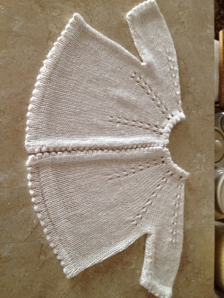 Knitted baby sweater worked top-down: yoke with multiple increase guide lines (10? 12?). Picot folded neck, repeated in hem, cuffs and front bands