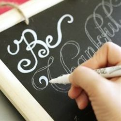 use a white sharpie on the black chalk board for the signs. we can write in chalk  useing stencil lettering, then fill in with sharpie and erase chalk marks...think of the cute things we could do with this! - Click image to find more weddings posts