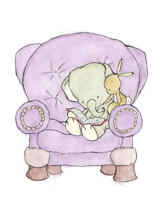 Children's Art --- It All Begins With Once Upon A Time lavender 8x10 -- Art Print