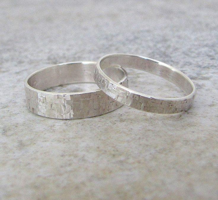 Silver Wedding Bands Set Hammered Silver Wedding Rings Distressed Squares Wedding Band. $88.00, via Etsy.