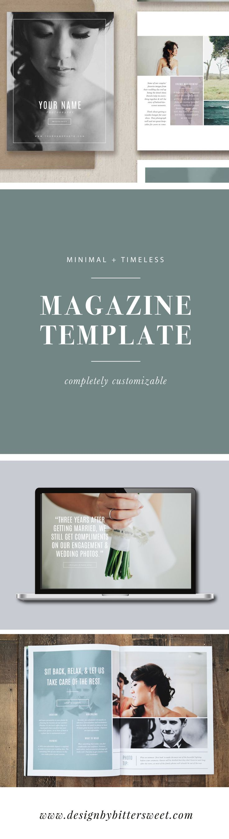 Create a beautiful magazine for your photography studio! With pre-written text & a completely customizable design, you can easily create a beautiful publication to match your current branding. Drag and drop your logo directly onto the Photoshop files for more of a custom look! Images by @sammblake
