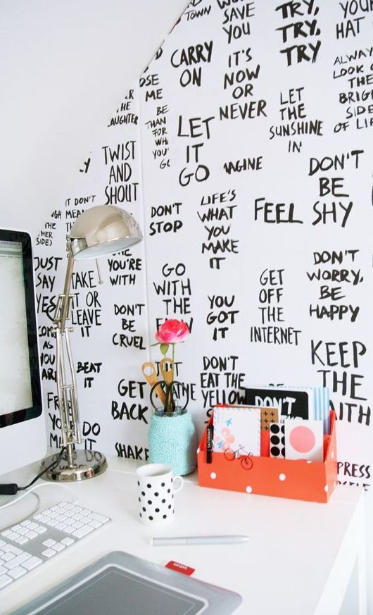 office offbeat interior design. inspiration wall qotd quotes paper black and white monochrome interior design need in my life study space college office offbeat t