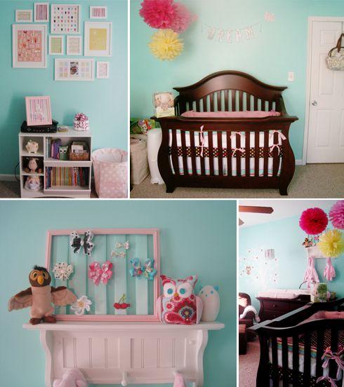 Owl Nursery: Bows Holders, Owl Nurseries, Wall Color, Nursery Ideas, Baby Girls, Baby Rooms, Nurseries Idea, Girls Nurseries, Girls Rooms