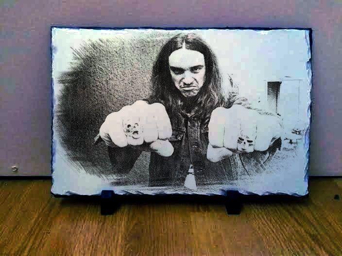 """Cliff Burton Metallica Art Portrait on Slate 12x8"""" Rare Collectables memorabilia"""