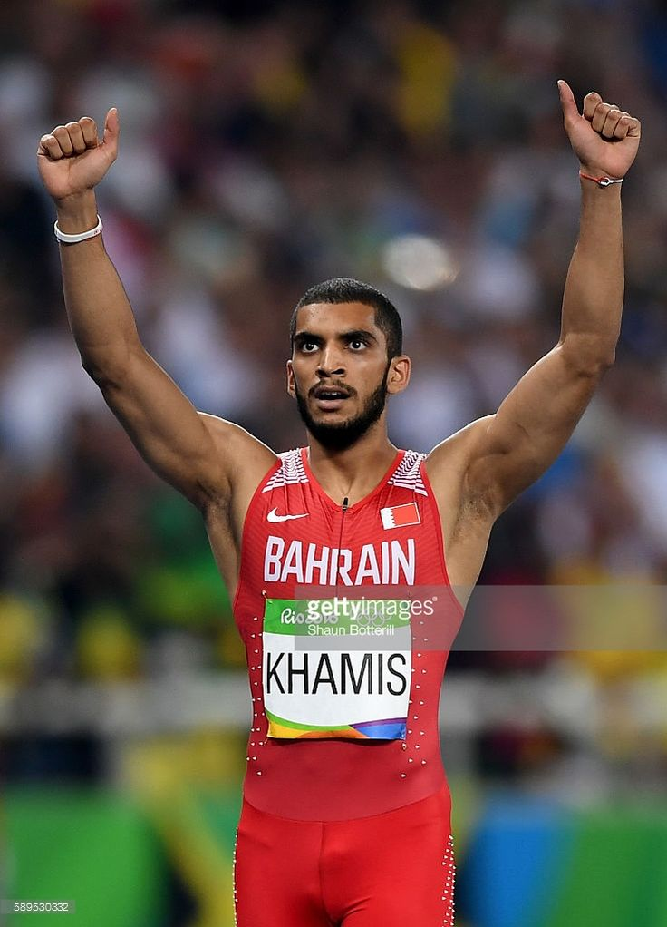 Ali Khamis Khamis of Bahrain reacts after the competes in the Men's 400 metres final on Day 9 of the Rio 2016 Olympic Games at the Olympic Stadium on August 14, 2016 in Rio de Janeiro, Brazil.