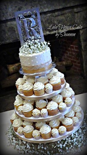 Rustic Wedding Cake Cupcake Tower Burlap Lace Baby's Breath Vanilla Cupcakes Champagne Satin Ribbon Lake House Cake by Shannon