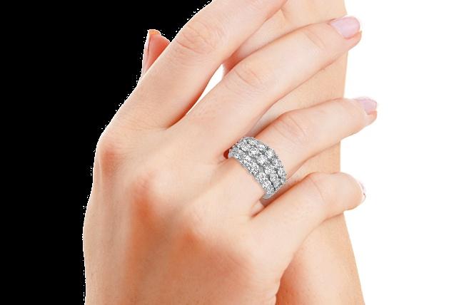 3-Row Diamond Band: Pears Shape, Gold Engagement Rings, Diamonds Band, Emeralds Cut, Rings Engagement, Halo Engagement Rings, Diamonds Engagement Rings, Cushions Cut Diamonds, Engagement Rings Halo