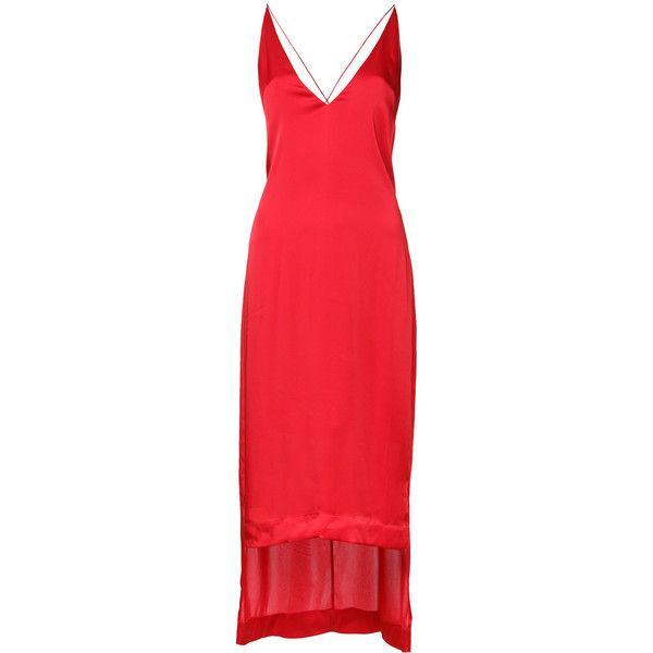 Dion Lee v-neck cami dress (€385) ❤ liked on Polyvore featuring dresses, red, red cami dress, v neck dress, red dress, red cami and dion lee dress