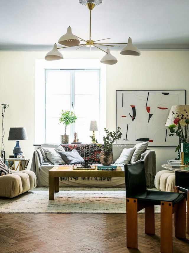 Living room - Alcro Trend magazine - Photo Klas Sjöberg - vintage furniture, eclectic, stilnovo ceiling lamp, wooden floor, art..