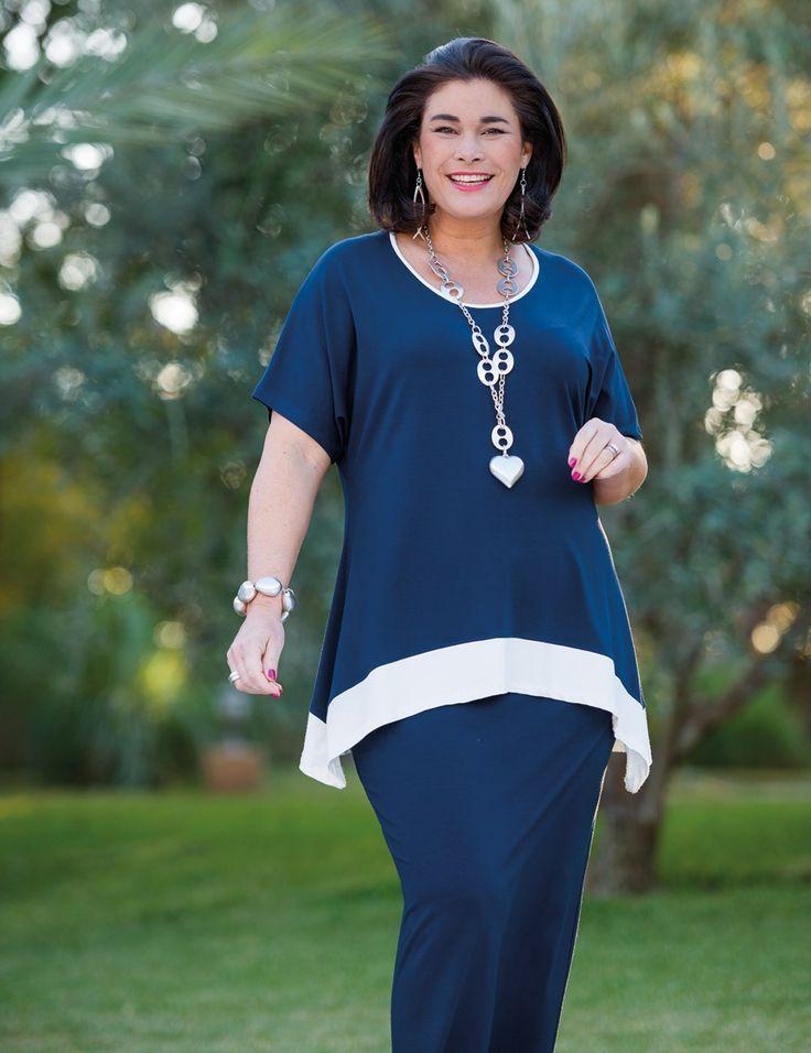 Kasbah navy/cream jersey stripe top