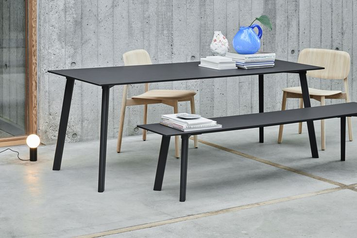 CPH Deux bench and table. Soft Edge chair.