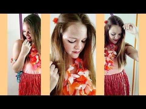 Como hacer disfraz HAWAIANA, Falda y Collar. - YouTube