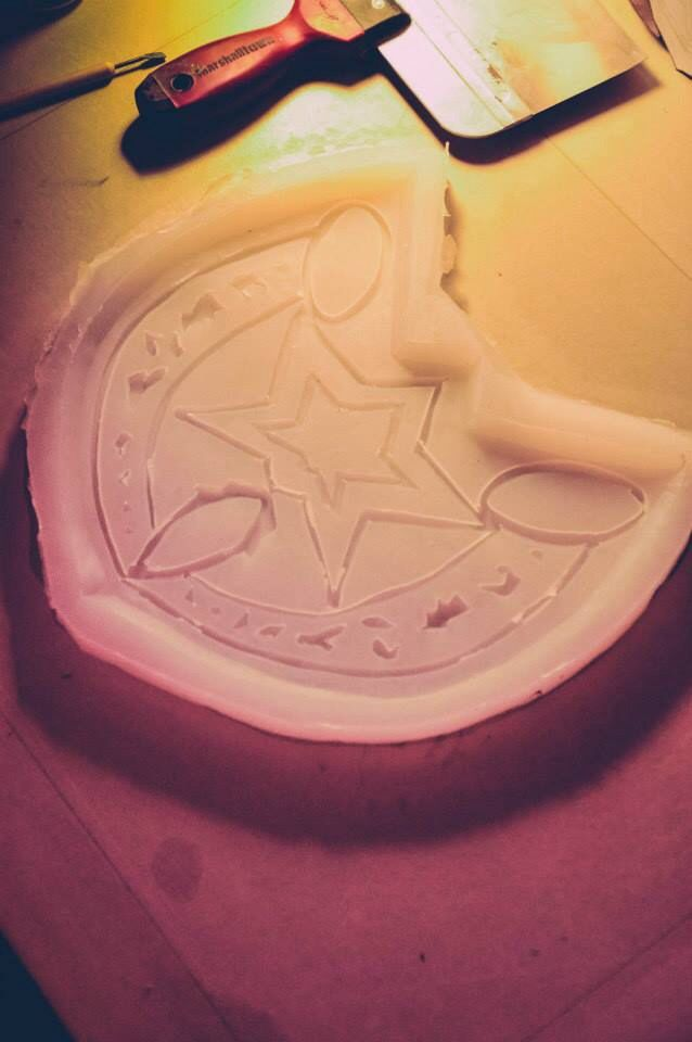 The silicone mold for the shield, turned out pretty good too.