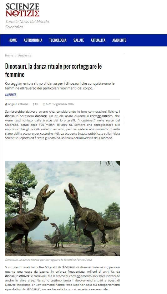 Scienze Notizie racconta di noi Dinosauri...