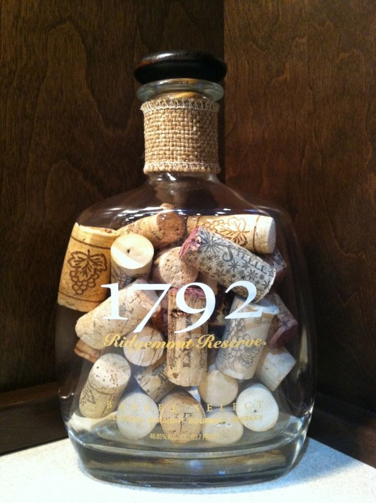 Using an old liquor bottle as a cork cage - what a great idea!