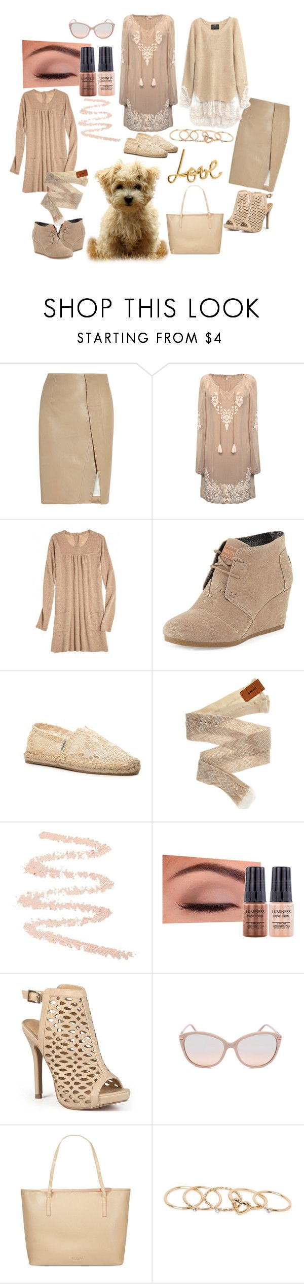 """Beige Love"" by dazzling-dazed-dayz ❤ liked on Polyvore featuring Acne Studios, Ultimate, Gold Hawk, Calypso St. Barth, TOMS, Joy & Mario, Missoni, NYX, Luminess Air and Journee Collection"