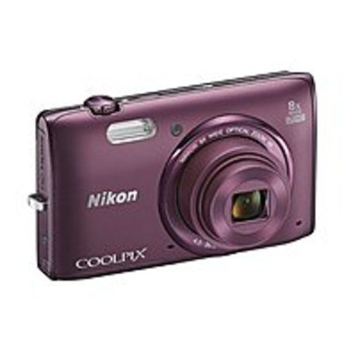 Nikon 26458 Coolpix S5300 16 Megapixel Compact Camera - Plum - 3-inch LCD - 16:9 - 8x Optical Zoom - 4x - Optical (IS) - TTL - 4608 x 3456 Image - 1920 x 1080 Video - HDMI - HD Movie Mode - Wireless LAN