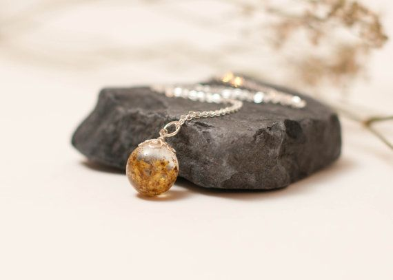 Eco Chic Yellow Meadowsweet Flowers in a Globe by LomharaJewellery