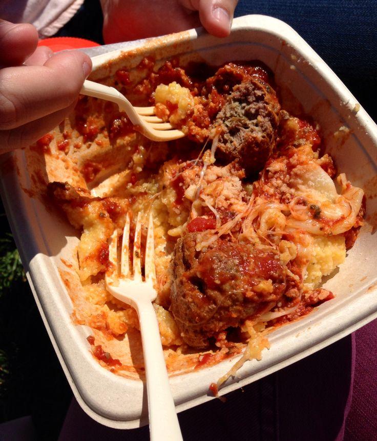 Authentic Italian polenta with meatballs #italian #festival #polenta: