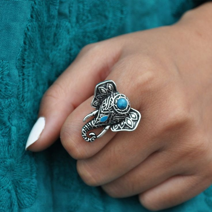 Silver Elephant Ring Elephant RingTurquoise Elephant RingTurquoise RingAntique Silver RingTurquoise Cocktail RingSilver Rope Ring Band (18.00 EUR) by SusyDeMarchiJewelry