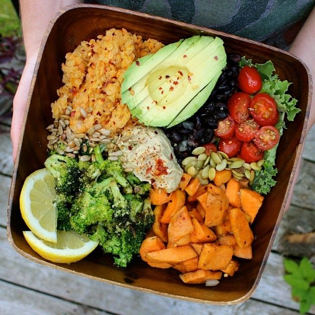 Raw Till 4 - Dinner (Baby Kale, Sweet Potato, Cherry Tomatoes, Black Beans, Avocado, Lime Juice, Pumpkin Seeds, Broccoli, Lentils, Spinach And Artichoke Hummus.)