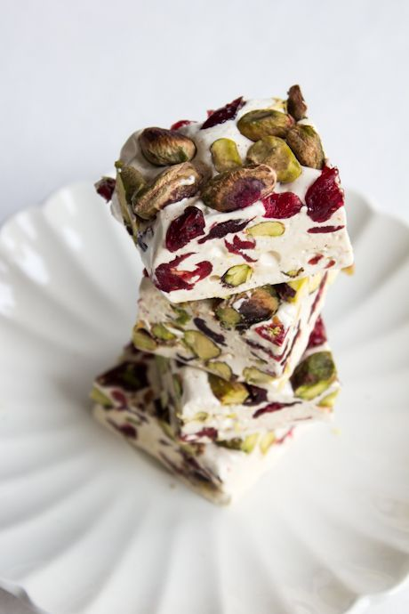 Cranberry Pistachio Nougat (Homemade Chocolate Packaging)