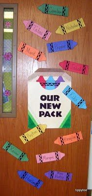 Super cute idea ...Cute door decor or bulletin board for the first weeks of school.