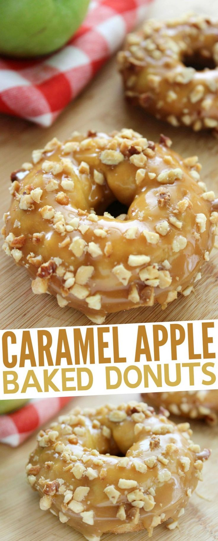 These Caramel Apple Baked Donuts are a perfect fall dessert with a fun spin on the classic caramel apple!