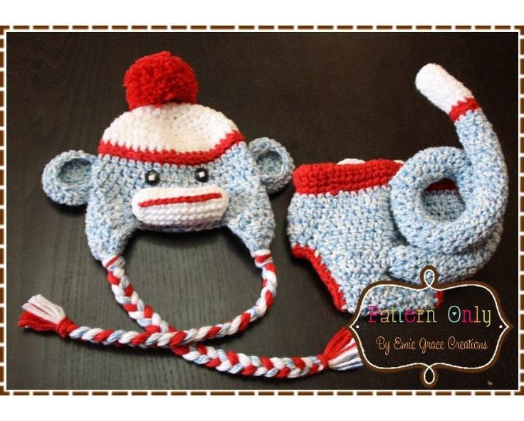Crochet Sock Monkey Hat and Diaper Cover Pattern - Classic ...