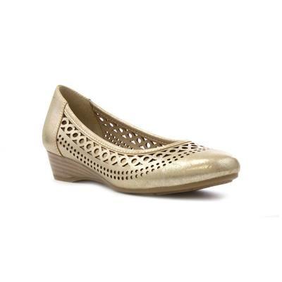 Lotus Women's Gold Chop Out Wedge Court Shoe - £39.99