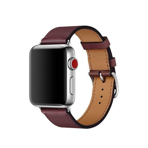 Apple Watch Hermès - Bracelet Simple Tour en cuir Swift Bordeaux 38 mm