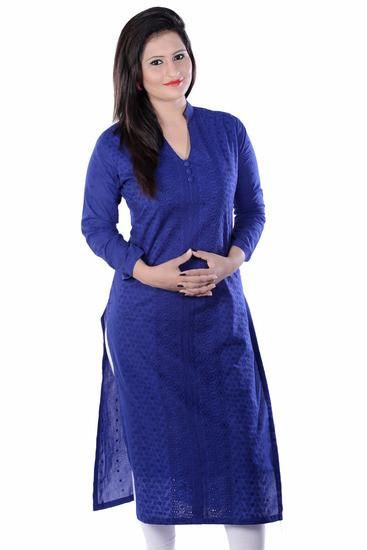 LadyIndia.com # Cotton Kurti, Stylish Floral Cotton Blue Kurti For Women, Kurtis, Kurtas, Cotton Kurti, https://ladyindia.com/collections/ethnic-wear/products/stylish-floral-cotton-blue-kurti-for-women