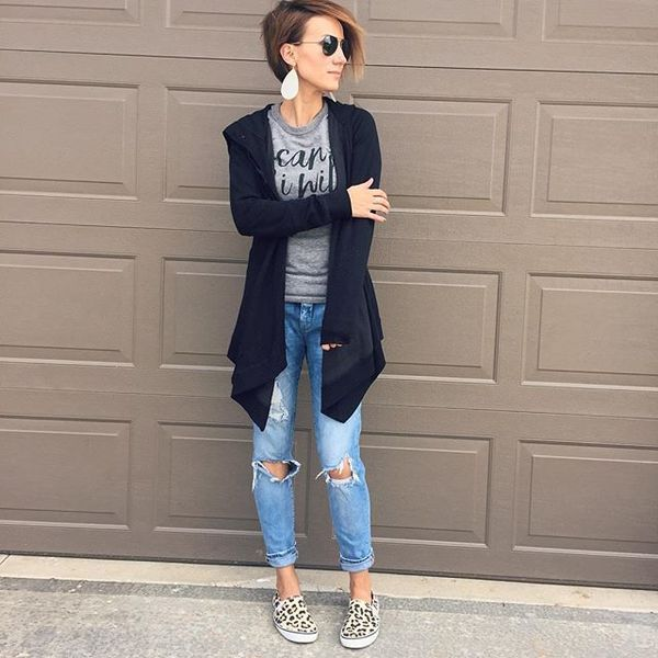 open cardigan, distressed denim, leopard sneakers, leather earrings, short hair