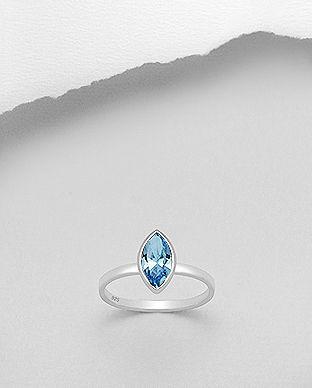 Smukke glimtende sterling sølv ring med Swarovski®  krystal i eksklusivt design til festlige lejligheder!!!