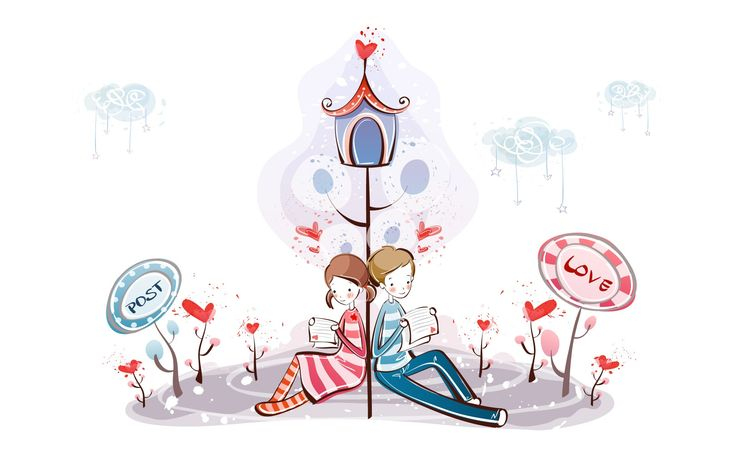 fondos de pantalla de dibujos animados de San Valentín (1) #13 - 1920x1200