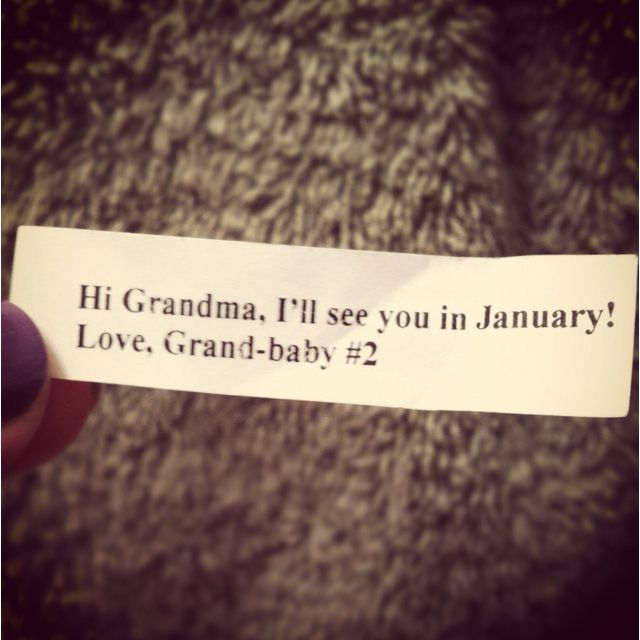 "We surprised my mother in law with Chinese food and this ""fortune"" in a real fortune cookie to announce my second pregnancy...her reaction was priceless :)"