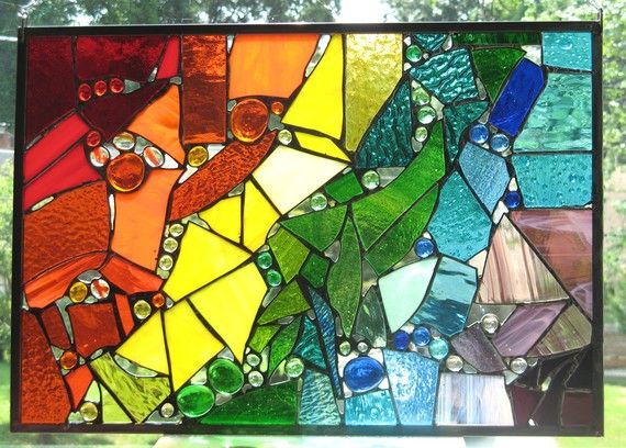 Roy G Biv stained glass panelBiv Stained, Stained Glass Panels, Biv Panels, Glasses Creations, Glassy Glasses, Stained Glasses Panels, Glasses Mosaics, Broken Glasses, Glasses Panels Good