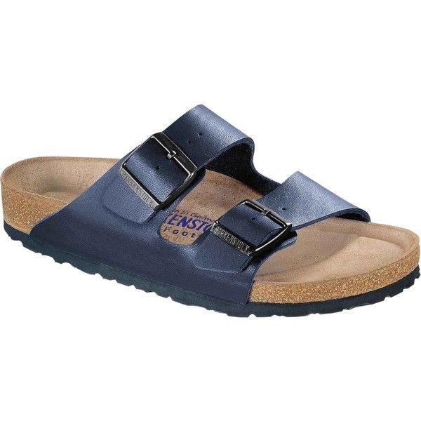 Birkenstock Unisex's Arizona Soft Footbed Navy Birko-Flor Slide... ($110) ❤ liked on Polyvore featuring shoes, sandals, blue, unisex shoes, birkenstock shoes, unisex sandals, adjustable strap sandals and blue shoes