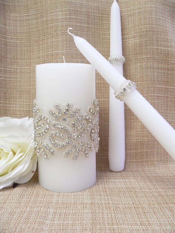Wedding Candle Set,Crystals wedding unity candle,Wedding Decoration, Ceremony Candles, Vintage Inspired Candle