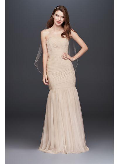 5aa45c85636f Pleated Tulle Mermaid Wedding Dress Style OP1325, Champagne, 0 ...