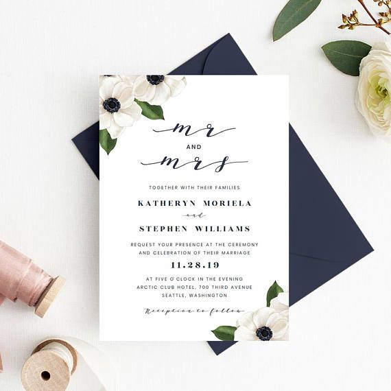 Mr Mrs Wedding Invitation Printable Floral Template Calligraphy Invitations PDF Templates