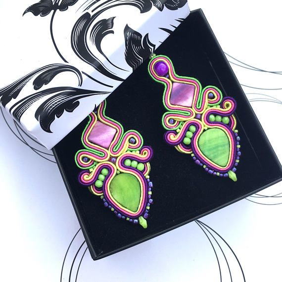 Big Rainbow Earrings Soutache Earrings Colorful Soutache