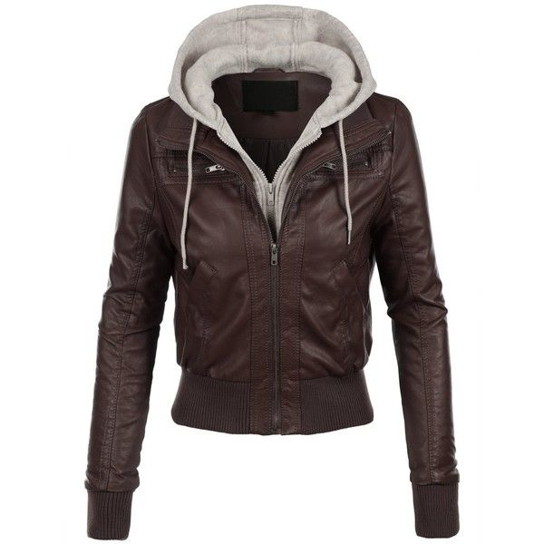 LE3NO Womens Casual Motorcycle Fleece Hoodie Faux Leather Jacket (44 AUD) ❤ liked on Polyvore featuring outerwear, jackets, synthetic leather jacket, faux leather jacket, fleece jacket, imitation leather jacket and motorcycle jacket