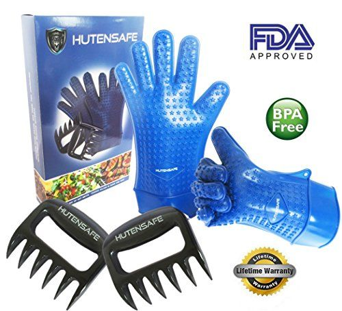 Authentic Xmas Sale Now On: Silicone BBQ Grill / Oven Gloves, Extra Long, Size L/XL, Plus 2 Meat Claws. Hutensafe`s High Heat Resistant Kitchen Gloves And Meat Claws Are The Best Quality, Versatile Cooking Utensils. Waterproof Gloves Are Non-slip And Dishwasher Safe. Protection As Oven Mitts, Pot Holders, or As BBQ Accessories. Lifetime Warranty., ,