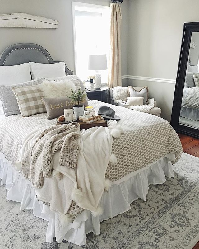 Today is a cozy knit sweater stay in bed kinda day....School is cancelled and were all cuddled-up here at the farmhouse. Its a SNOW DAY! . . .Decor Tip: The patterned duvet on our queen bed is a twin down comforter that I use on the end of the bed. Its an inexpensive way to change the whole look of your bedroom! For the price of an inexpensive twin duvet and comforter vs a queen size of both you can easily create a new seasonal vibe! I keep a neutral white quilt on year round as my base…