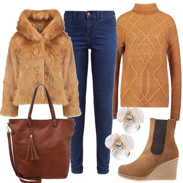 Outfit+pratico,+ma+allo+stesso+tempo+fashion+da+indossare+se+avete+in+programma+di+fare+un+viaggio+durante+le+festività+natalizie.+Jeans+slim+fit+abbinati+a+maglione+a+collo+alto+color+tabacco+e+giacca+con+cappuccio+in+ecopelliccia+color+caramello.+Per+gli+accessori+ho+scelto+stivaletti+con+zeppa+color+toffee,+shopping+bag+in+ecopelle+marrone+con+nappina+e+orecchini+con+strass+a+forma+di+fiore.
