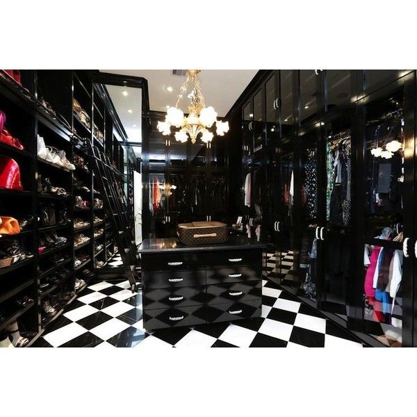 Black and White Closet - Contemporary - closet - HAR ❤ liked on Polyvore featuring home, home improvement and storage & organization